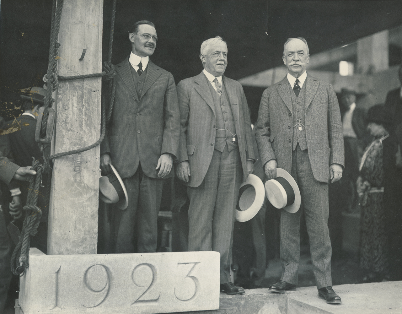 Rhees, Hill and Vedder at the SMD Cornerstone laying, 1923