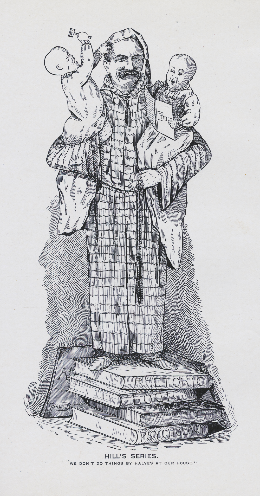 Caricature of Hill and his twins