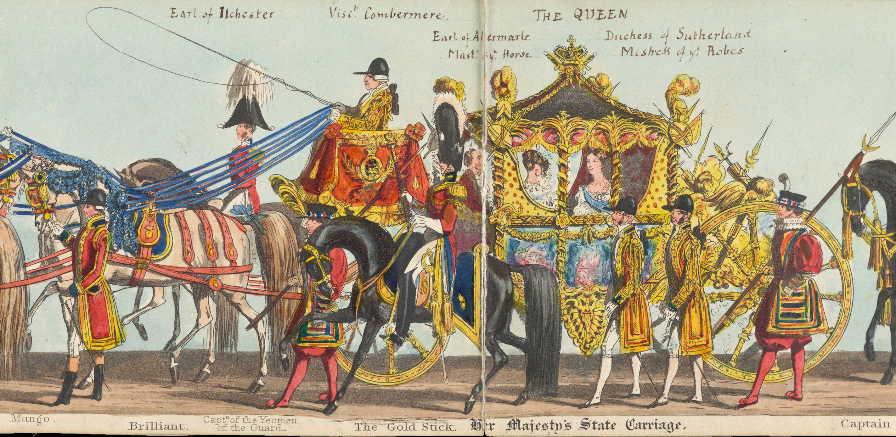 Fores' Correct Representation of the State Procession...Her Majesty's Coronation, June 28th, 1838. London: Messrs. Fores, 1838. A small portion of a hand-colored aquatint that is more than 50 feet long when fully extended.