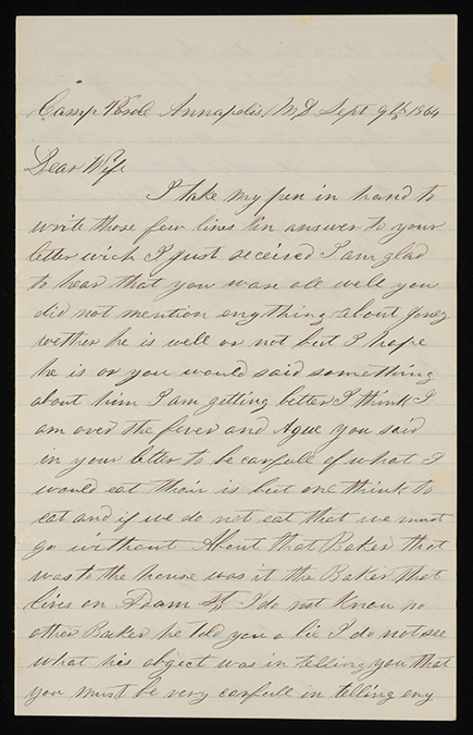 Letter from John McGraw to Mary McGraw, Camp Parole Hospital, Annapolis, MD, September 9, 1864, John McGraw Civil War letters, Box 1, Folder 7, Rare Books, Special Collections, and Preservation, River Campus Libraries, University of Rochester.