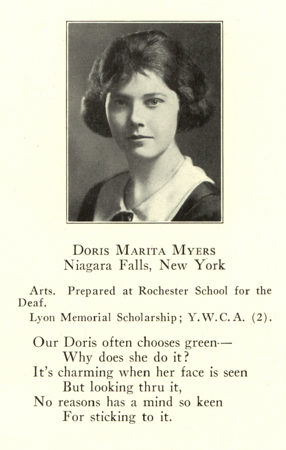 Doris Myers, Croceus yearbook