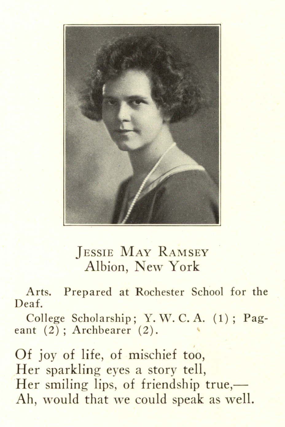 Jessie Ramsay, Croceus yearbook