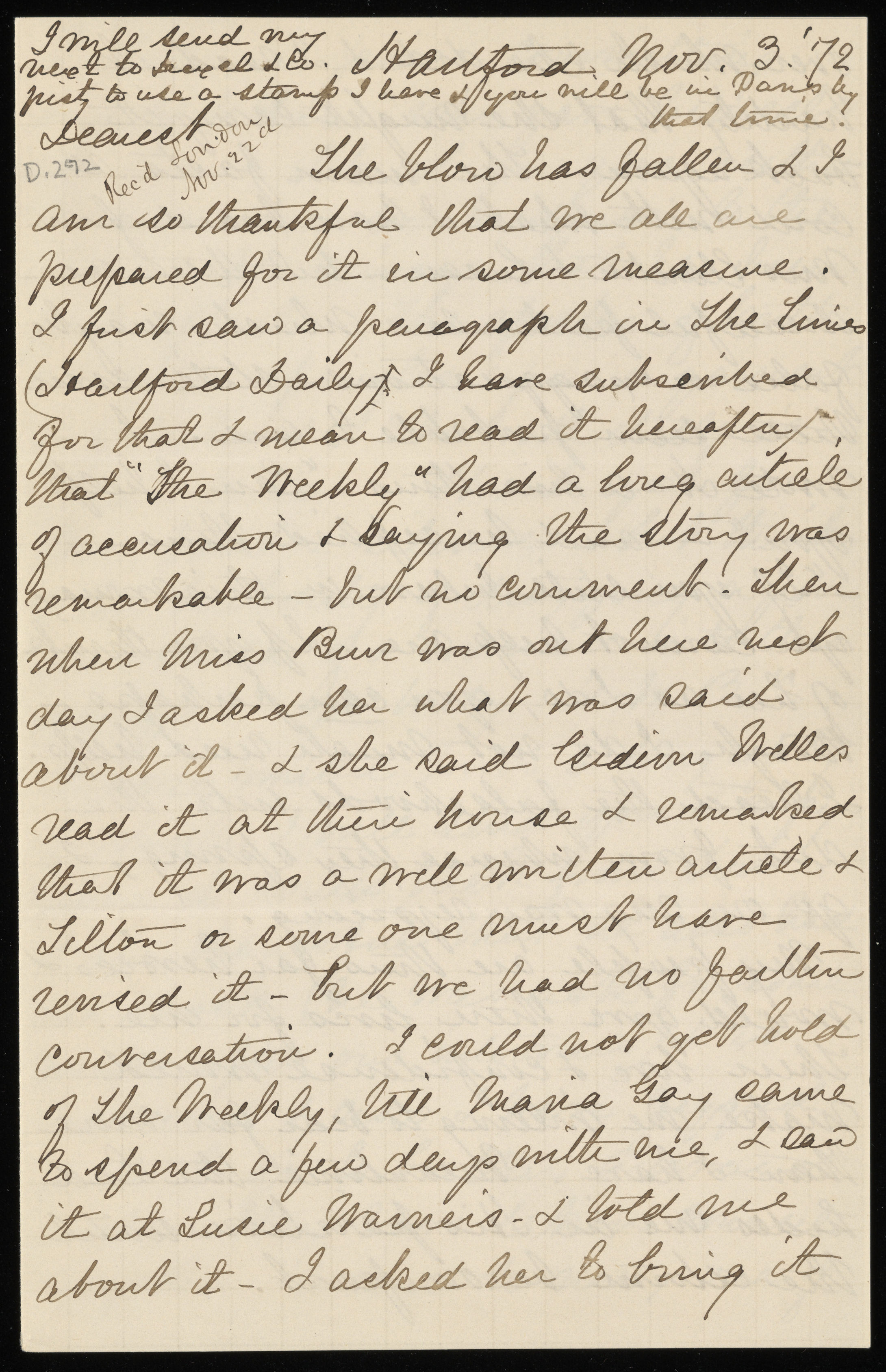 Isabella Beecher Hooker writes to her husband telling him that the Beecher-Tilton scandal came out in the newspapers.