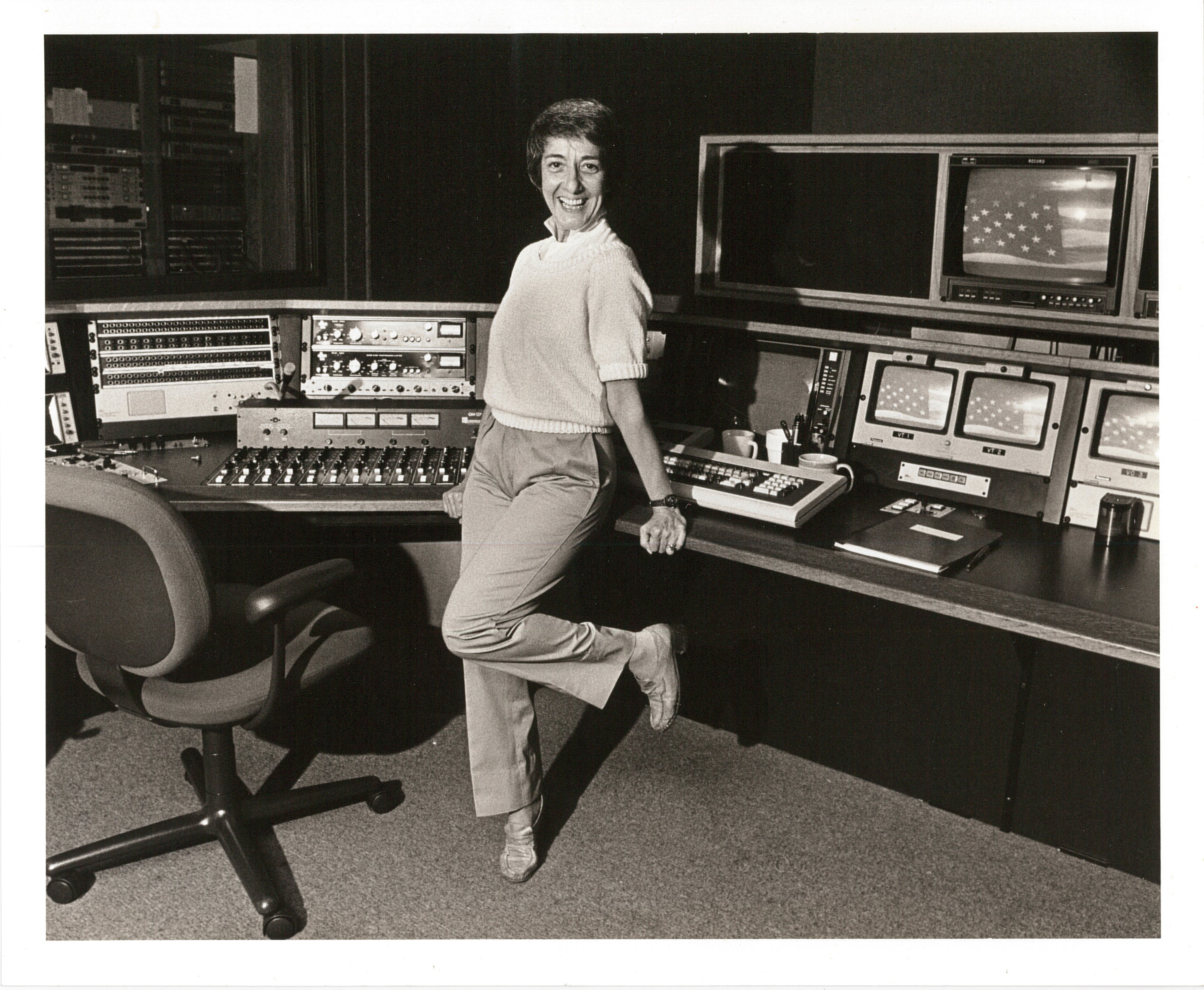 Photograph of Midge Costanza in a television studio
