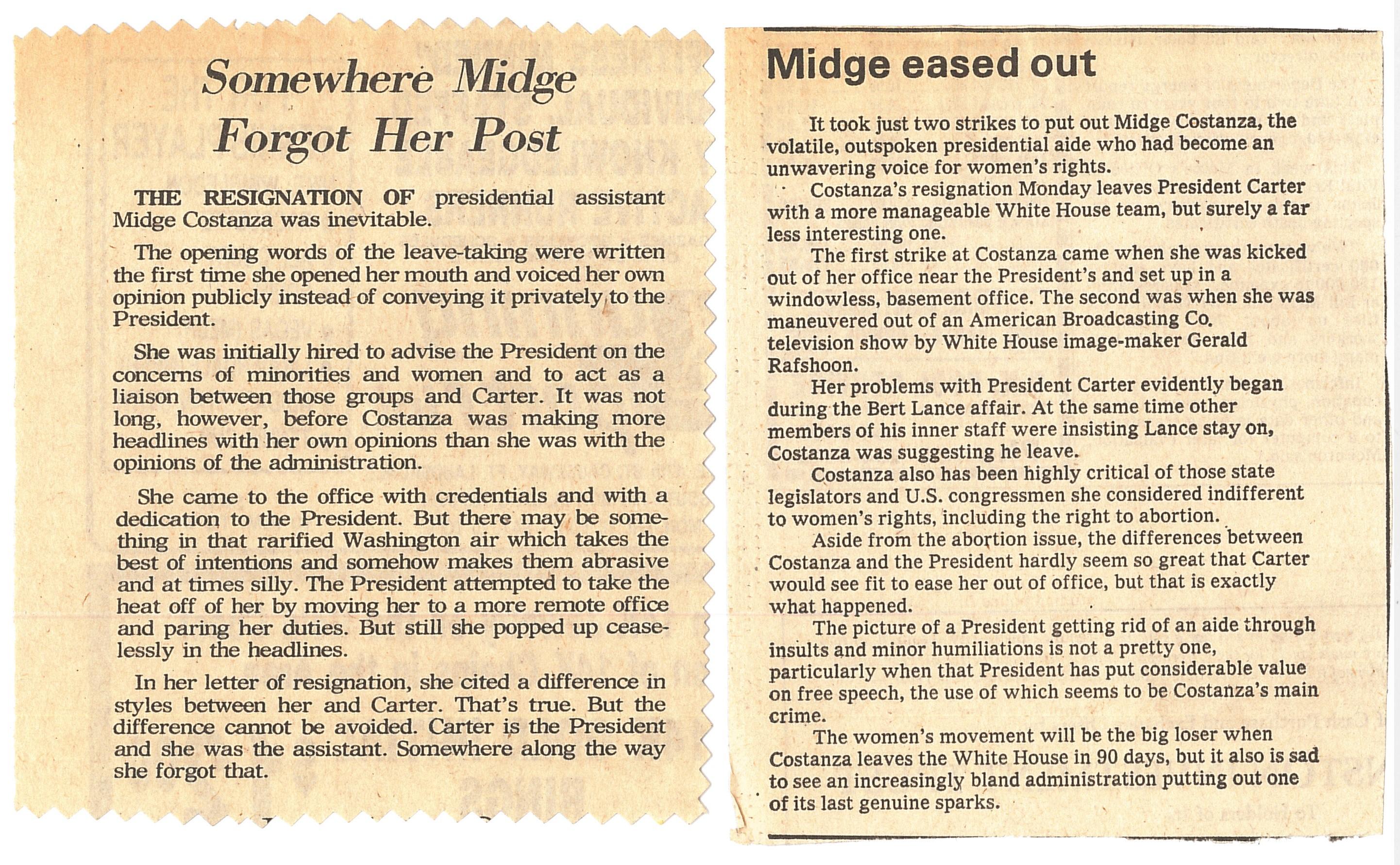 Coverage of Midge Costanza's resignation