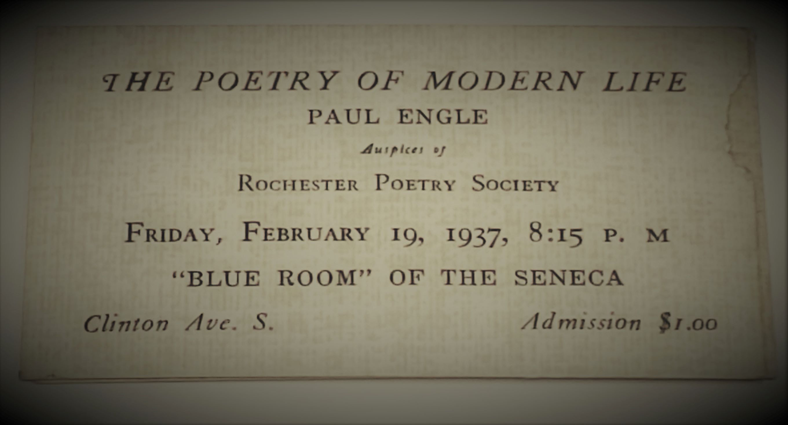 Rochester Poetry Society 1937 event
