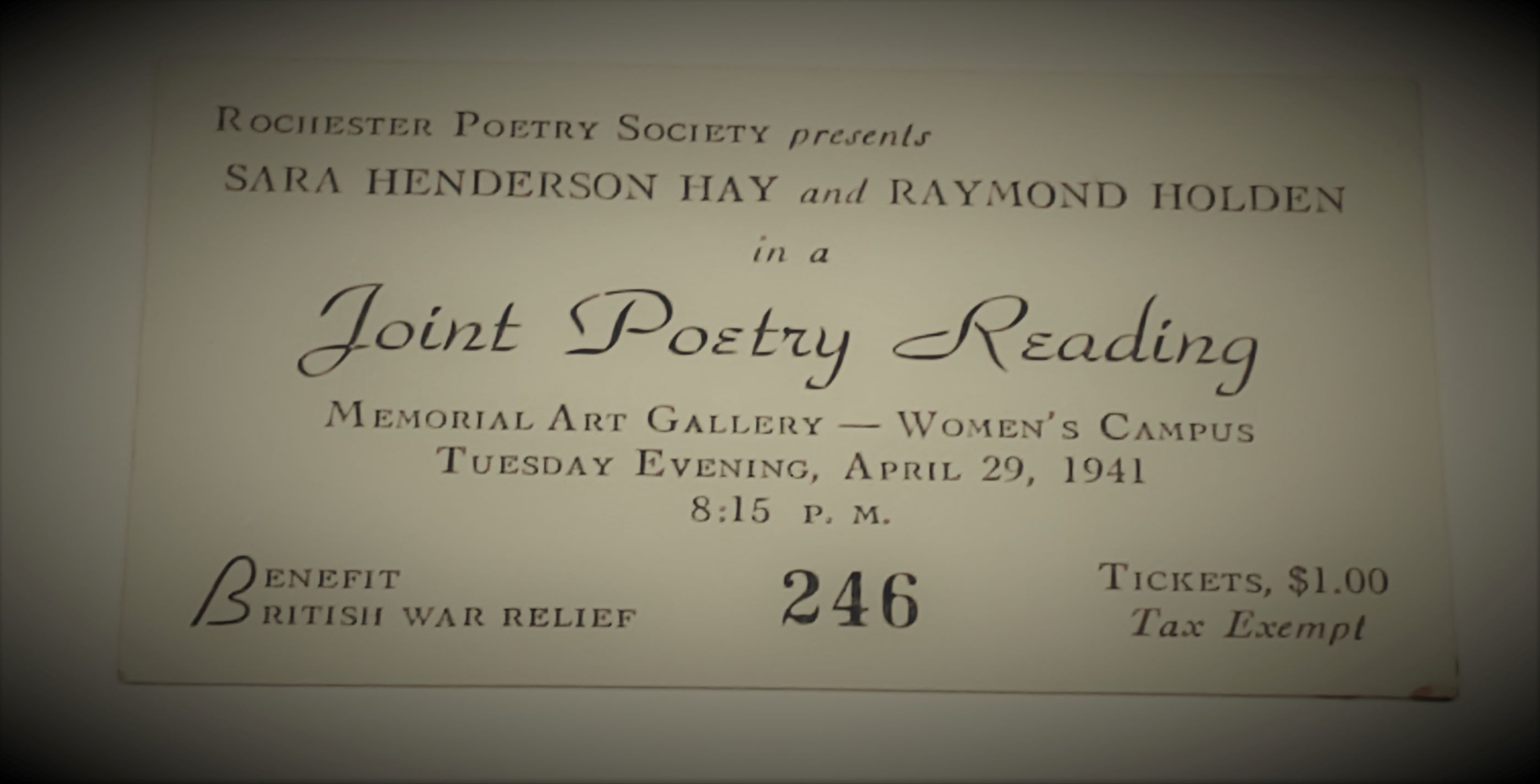 Rochester Poetry Society 1941 event