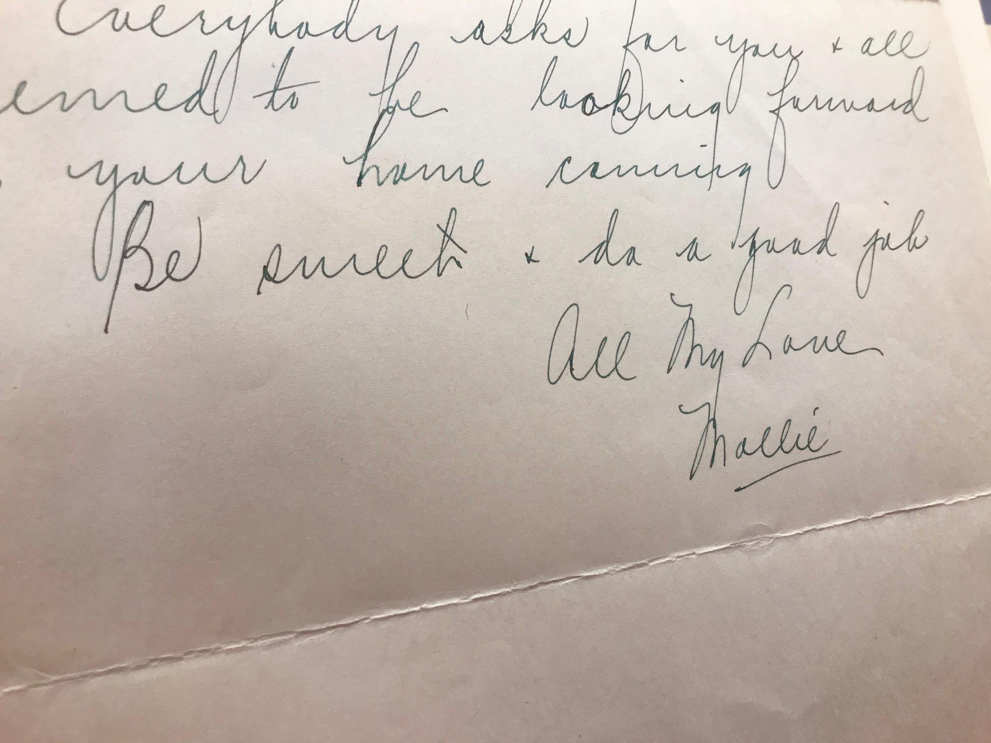 """Be sweet & do a good job – All my love – Mollie.""]"