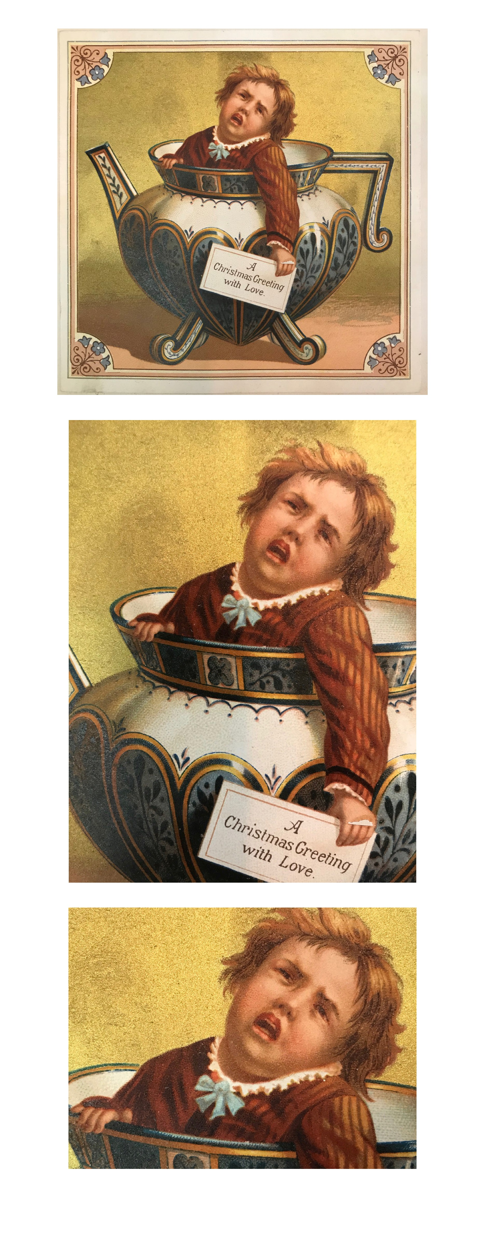 """A Christmas Greeting with Love"" featuring a distressed teapot child, 1880s"