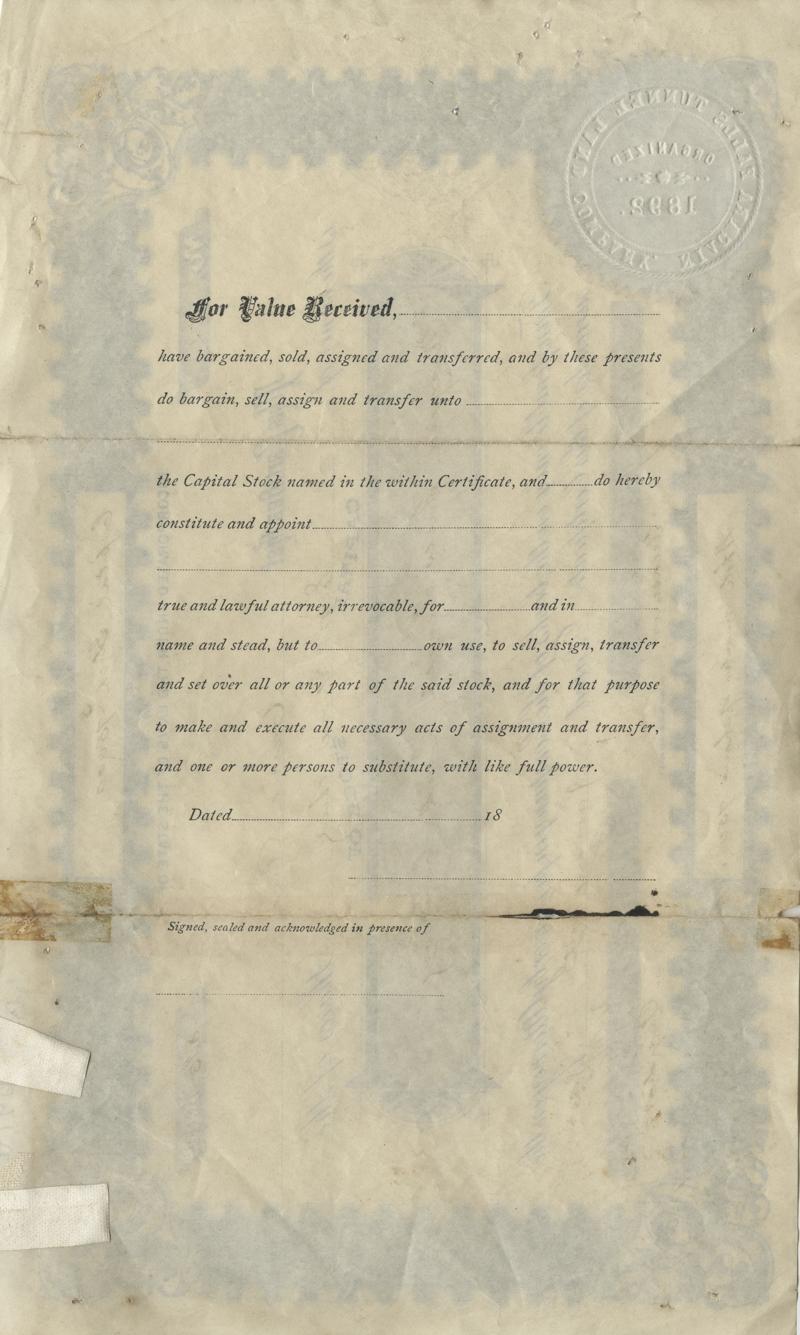 Verso of Niagara Falls Tunnel Mining Company
