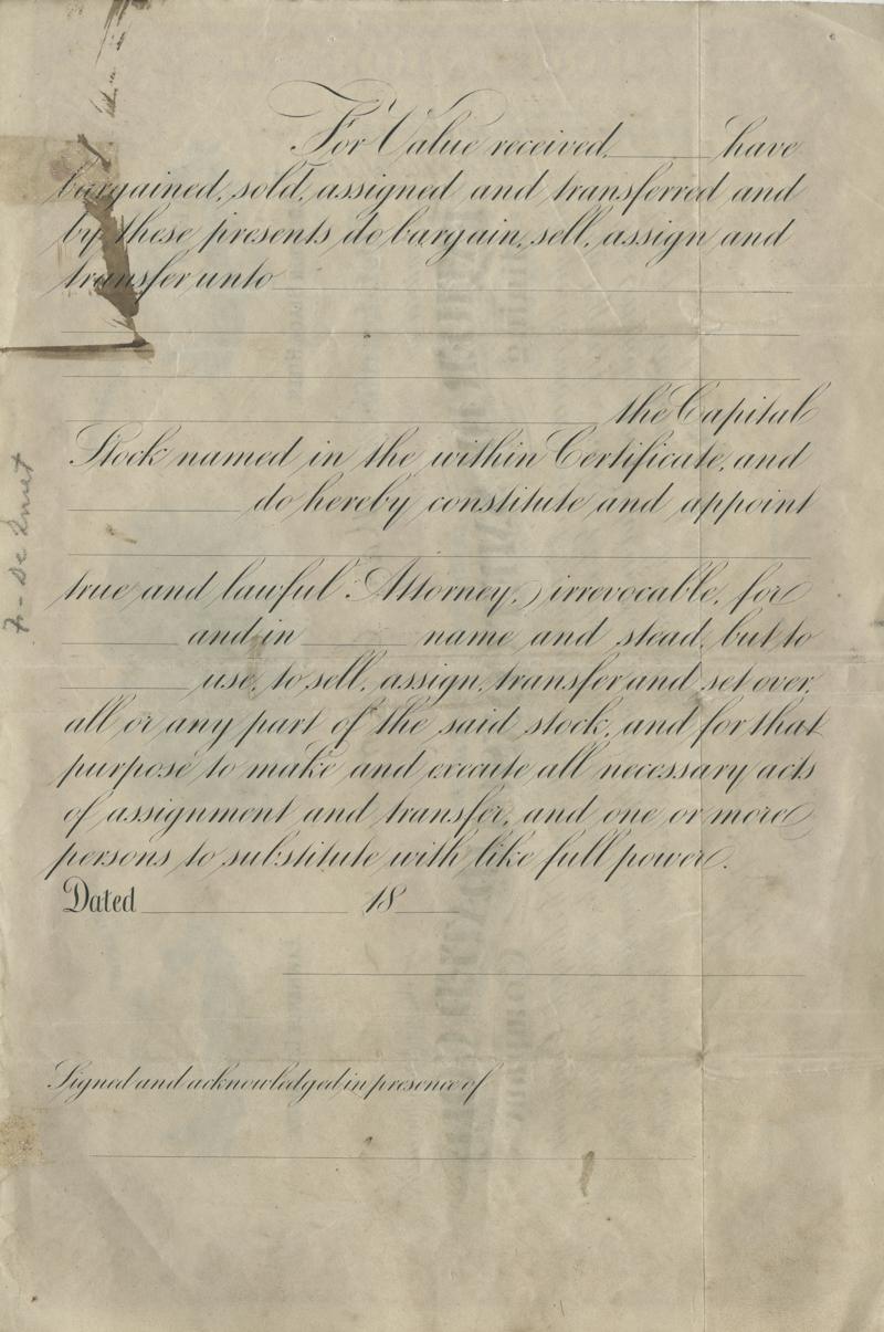 Verso of De Smet Gold Company