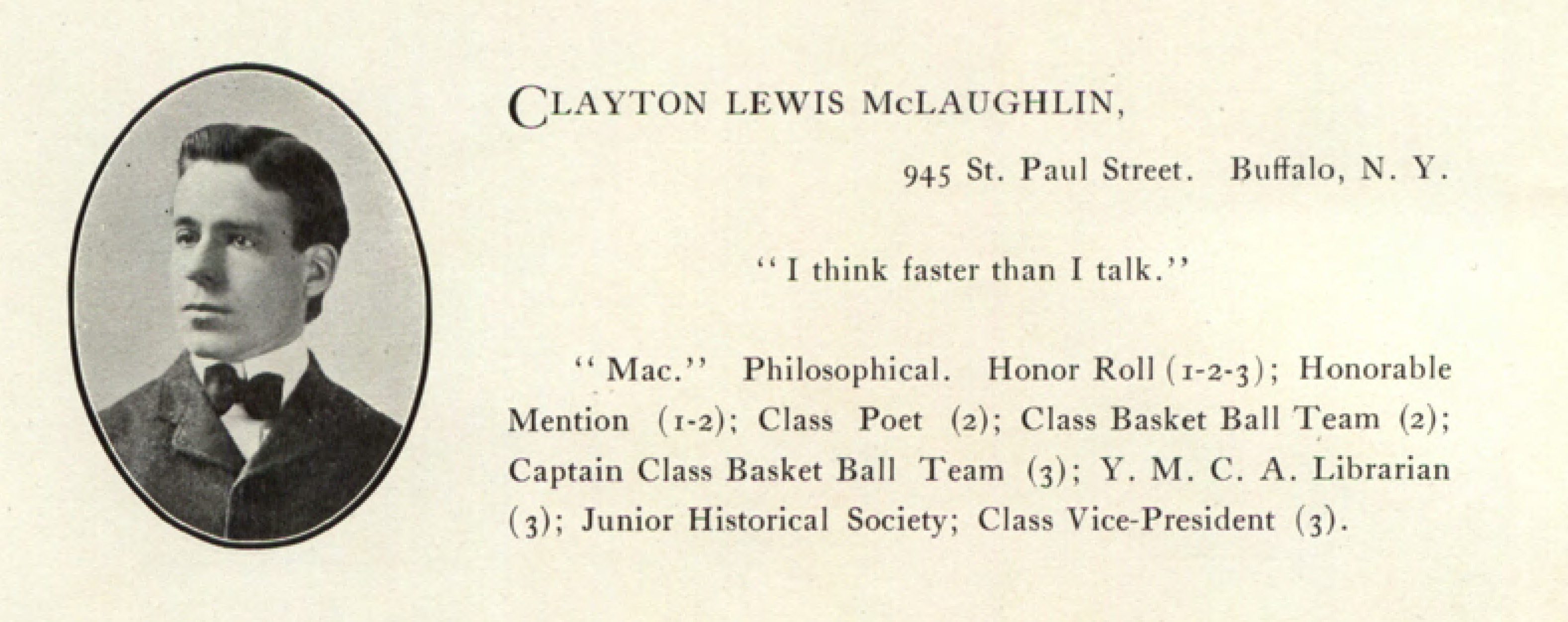 McClaughlin, 1903 Interpres yearbook