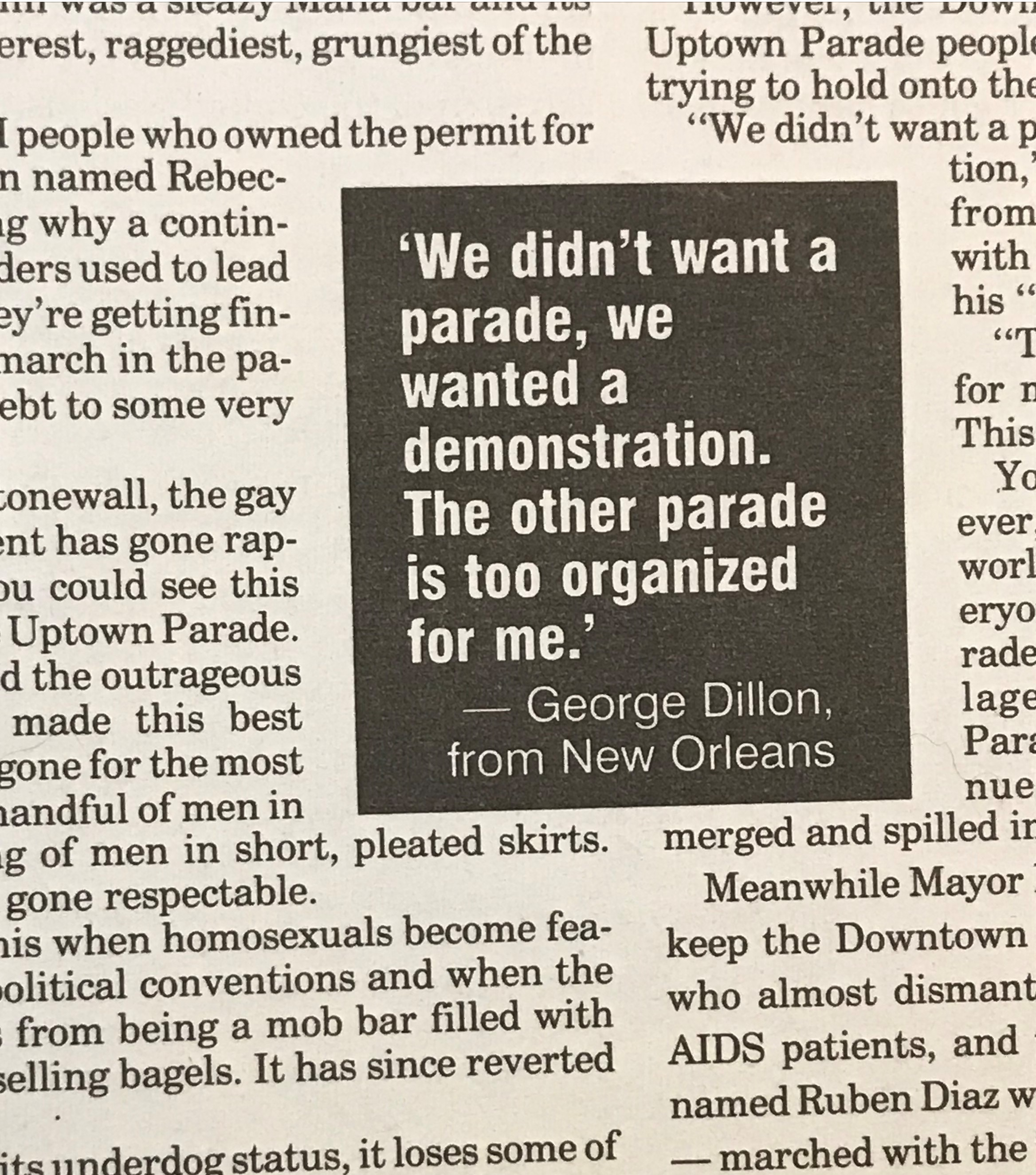 """Quote from newspaper feature on the """"unauthorized"""" march to commemorate Stonewall, June 27th, 1994. RJ Alcalá gay rights and culture collection, D.602"""