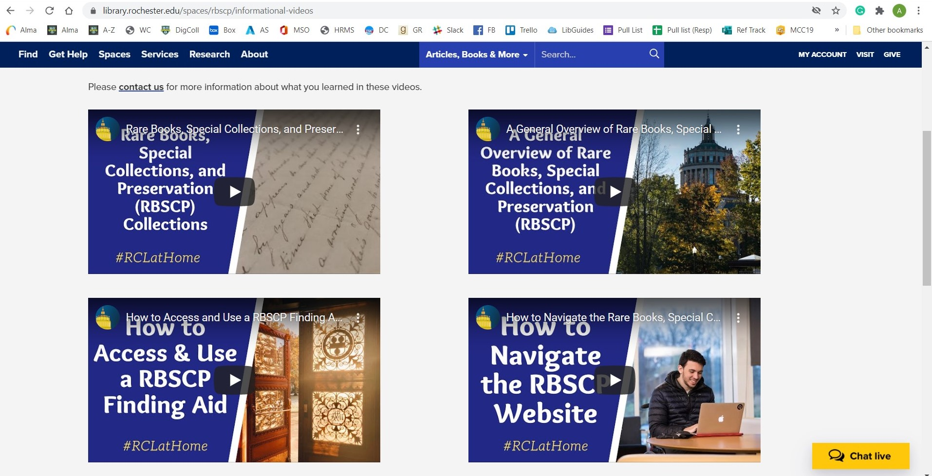 screenshot of Rare Books and Special Collections website, showing 4 instructional videos