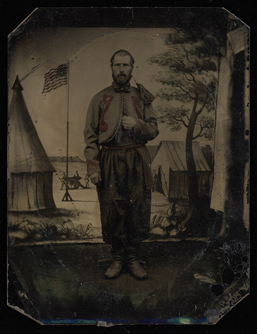 Tintype of John McGraw in his Zouave uniform, John McGraw Civil War letters, Box 1, Folder 7, Rare Books, Special Collections, and Preservation, River Campus Libraries, University of Rochester.