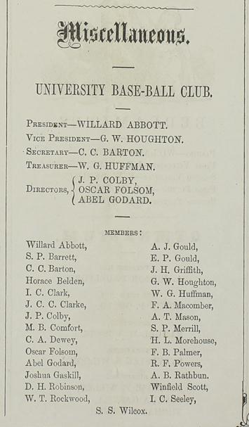 baseball roster, 1858